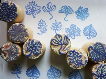 Linocut stamps with leaves motif