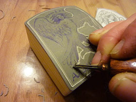 Making of linocut stamp