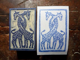 Linocut stamp with giraffe motif