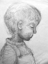 Child's head - pencil drawing