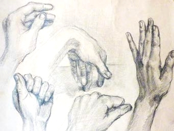 Hands study - pencil drawing